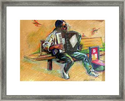 Musician With Accordion Framed Print by Stan Esson