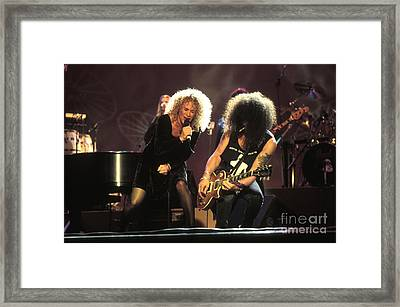 Musicians Carol King And Slash Framed Print by Concert Photos