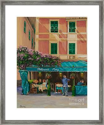 Musicians' Stroll In Portofino Framed Print by Charlotte Blanchard