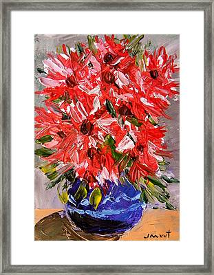 Musing-asters Red White Pink Framed Print by John Williams