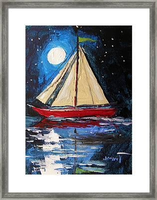 Musing-midnight Sail Framed Print