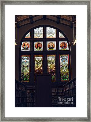 Muskegon Library Window Framed Print by Emily Kay