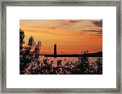 Muskegon Light 5080 Framed Print by Michael Peychich