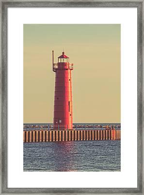 Muskegon Lighthouse At Dusk Framed Print by Emily Kay