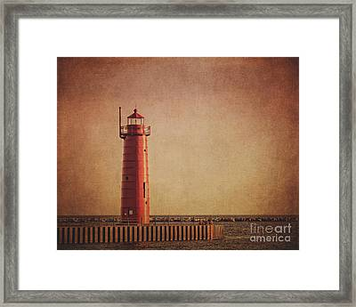 Muskegon Lighthouse At Dusk Framed Print by Emily Kay