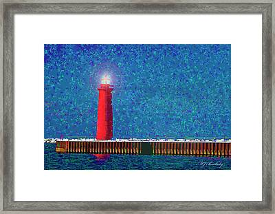 Muskegon Lighthouse Framed Print by Marti Buckely