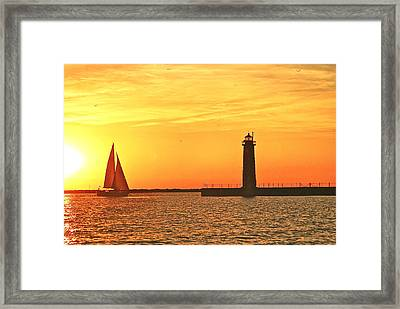 Muskegon Sunset Framed Print by Michael Peychich