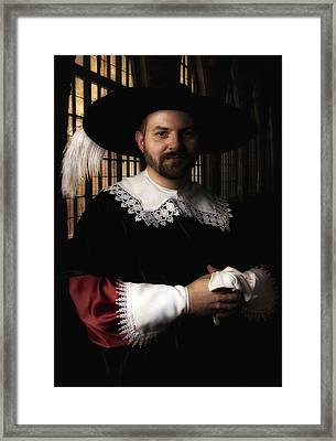 Musketeer In The Old Castle Hall Framed Print