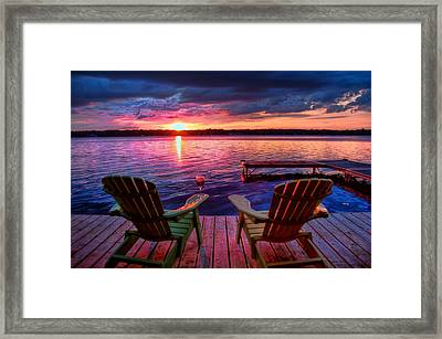 Framed Print featuring the photograph Muskoka Chair Sunset by Michaela Preston
