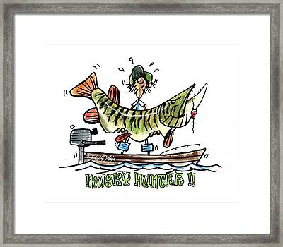 Musky Hunter - Cartoon Framed Print