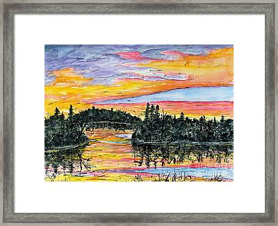 Musky Sunset Framed Print by Linda Steine