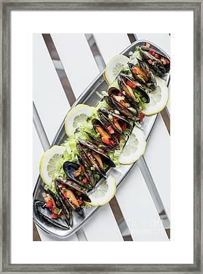 Mussels In Fresh Zesty Marinated Citrus Vegetable Sauce Seafood  Framed Print
