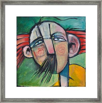 Mustached Man In Wind Framed Print