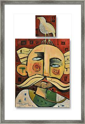 Mustached Man With Perched Bird Framed Print