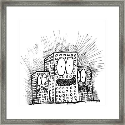 Mustachio Buildings Framed Print by Karl Addison