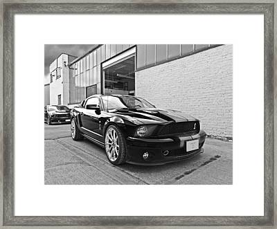Mustang Alley In Black And White Framed Print