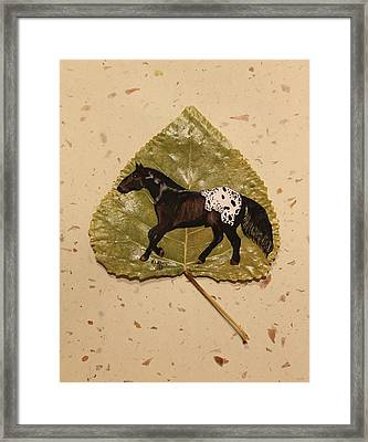 Mustang Appaloosa On Poplar Leaf Framed Print