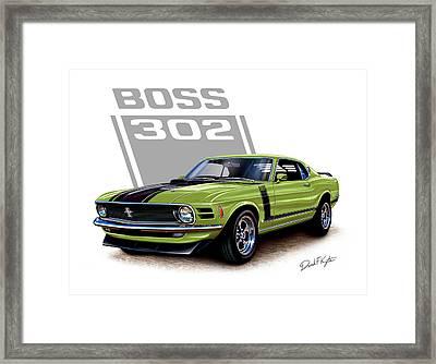 Mustang Boss 302 Grabber Green Framed Print by David Kyte