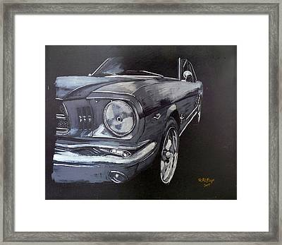 Framed Print featuring the painting Mustang Front by Richard Le Page