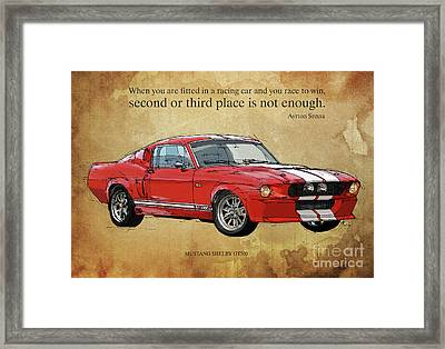 Mustang Gt500, Ayrton Senna Inspirational Quote Handmade Drawing, Brown Background Framed Print by Pablo Franchi