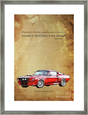 Mustang Gt500 Ayrton Senna Inspirational Quote, Handmade Drawing Framed Print by Pablo Franchi