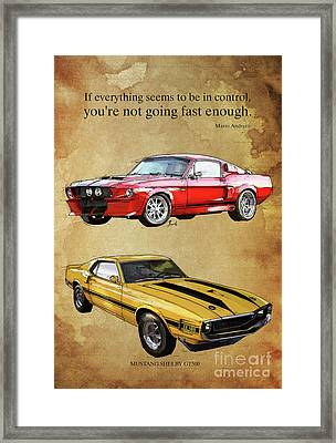 Mustang Gt500 Ayrton Senna Inspirational Quote, Handmade Drawing, Two Portraits Framed Print by Pablo Franchi