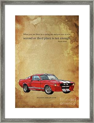 Mustang Gt500, Ayrton Senna Inspirational Quote Handmade Drawing Vintage Background Framed Print by Pablo Franchi