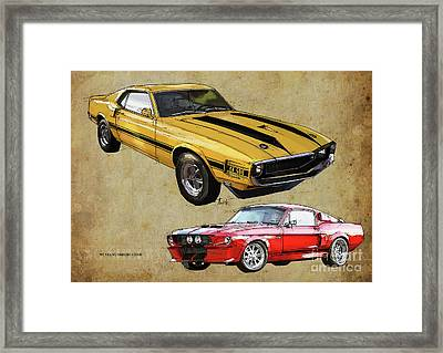 Mustang Gt500 Yellow And Red, Handmade Drawing, Original Classic Car For Man Cave Decoration Framed Print by Pablo Franchi