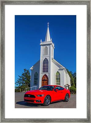 Mustang In Front Of Church Framed Print by Garry Gay