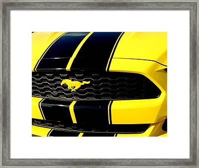 Mustang In Yellow Framed Print by Louis Meyer