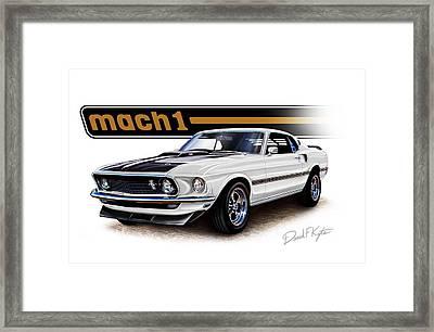 Mustang Mach 1 White Framed Print by David Kyte