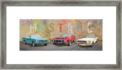 Mustang Panorama Painting Framed Print
