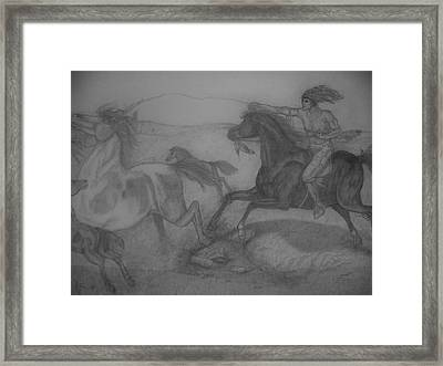 Mustang Roundup Framed Print by Jose Cabral