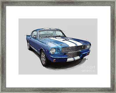 Mustang Shelby 1965 Handmade Drawing For Man Cave Framed Print