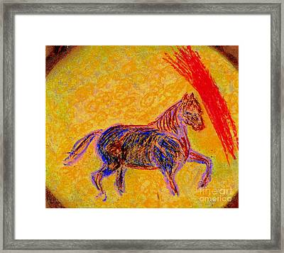 Framed Print featuring the painting Mustang Stallion by Richard W Linford