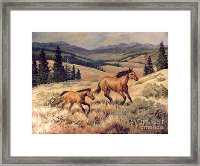 Mustangs      Mare And Foal Escaping Framed Print by JoAnne Corpany