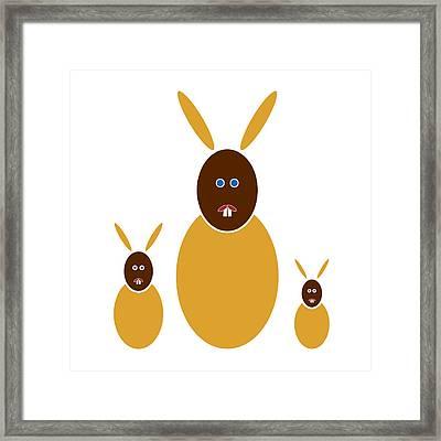 Mustard Bunnies Framed Print by Frank Tschakert