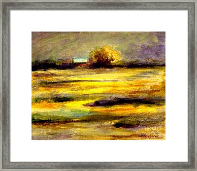 Mustard Fields Framed Print by Addie Hocynec