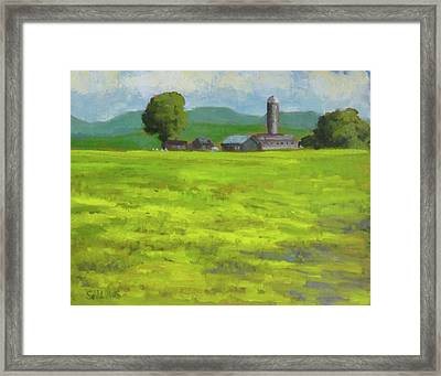 Mustard Fields Indiana Framed Print by Nora Sallows
