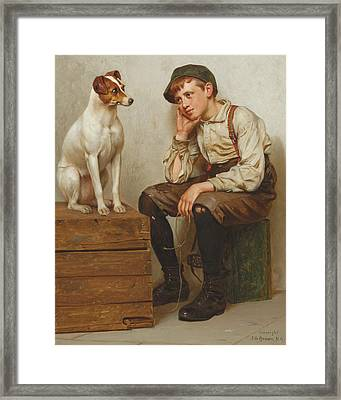 Mutual Admiration Framed Print by John George Brown