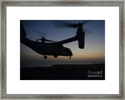 Mv-22b Osprey Tiltrotor Aircraft Launching Framed Print