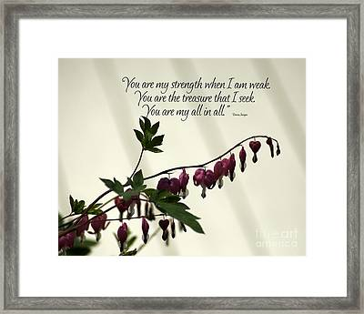 My All In All Framed Print by Diane E Berry