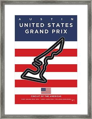 My Austin Usa Grand Prix Minimal Poster Framed Print