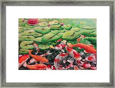 My Backyard Pond Framed Print