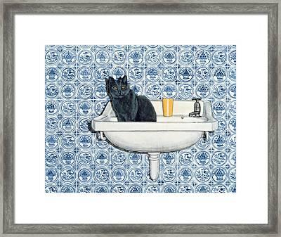 My Bathroom Cat  Framed Print by Ditz