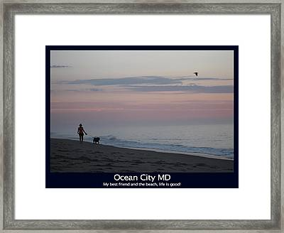 My Best Friend And The Beach Framed Print
