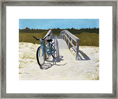 Framed Print featuring the pastel My Blue Bike by Jan Amiss