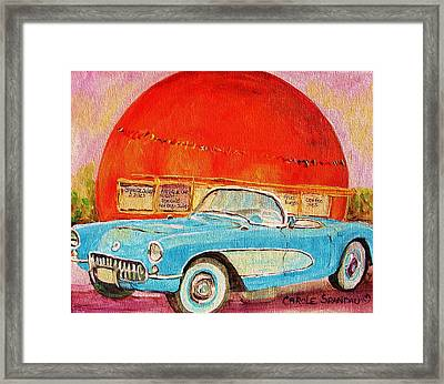My Blue Corvette At The Orange Julep Framed Print by Carole Spandau