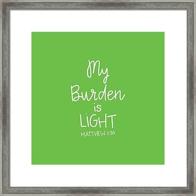 My Burden Framed Print by Nancy Ingersoll