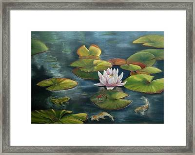 My Busy Lilly Pond Framed Print